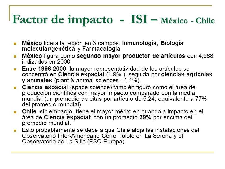 Factor de impacto - ISI – México - Chile