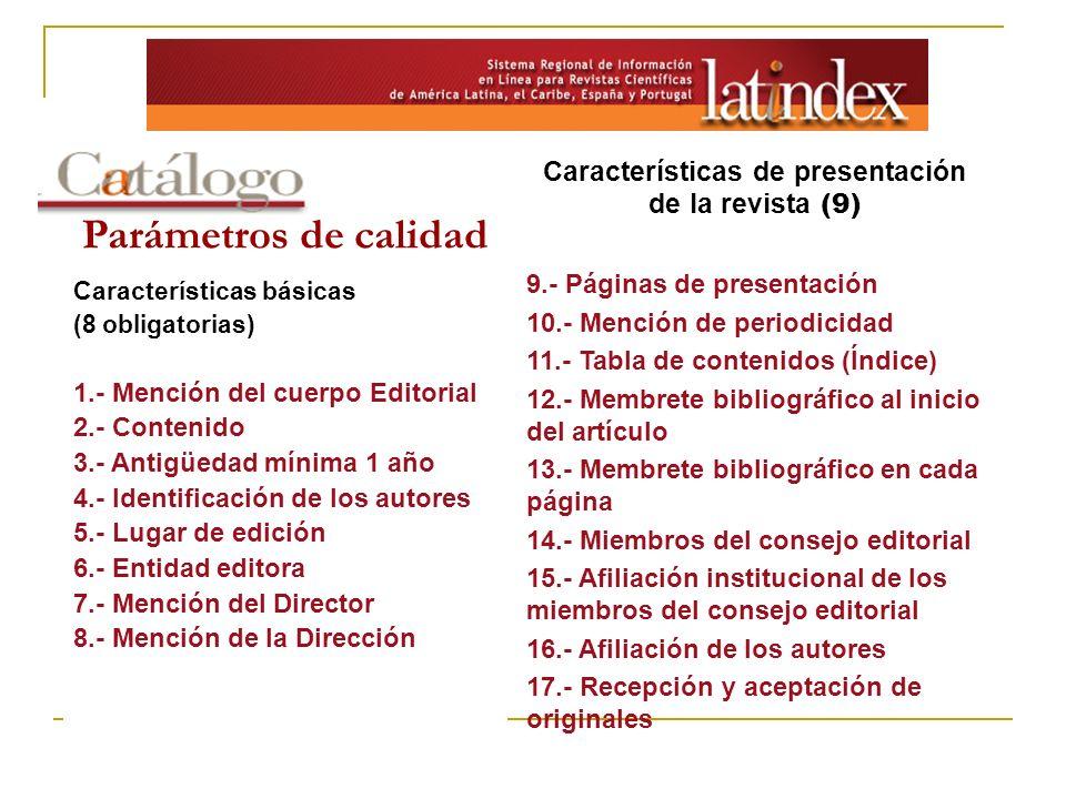 Características de presentación de la revista (9)