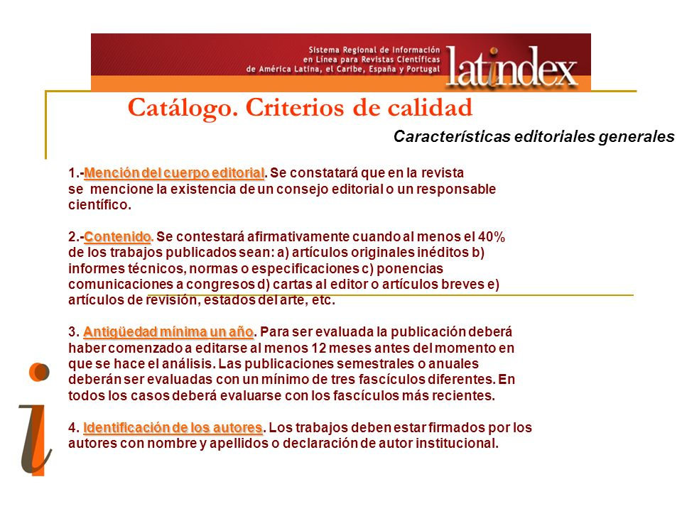 Catálogo. Criterios de calidad