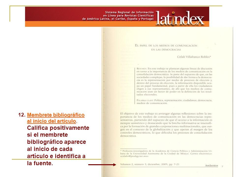 12. Membrete bibliográfico al inicio del artículo