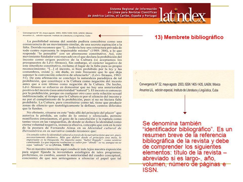 13) Membrete bibliográfico