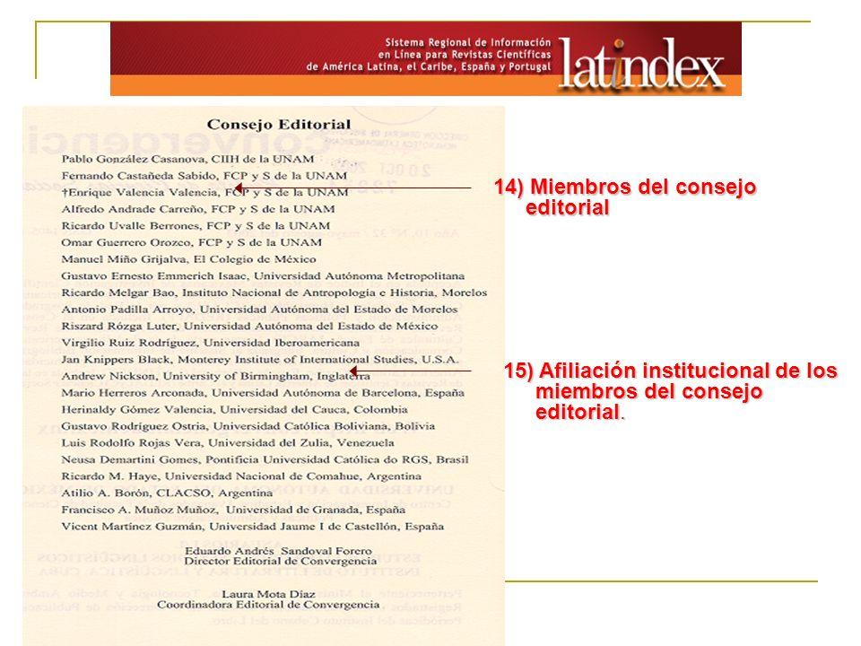 14) Miembros del consejo editorial