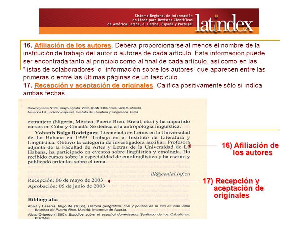 16) Afiliación de los autores