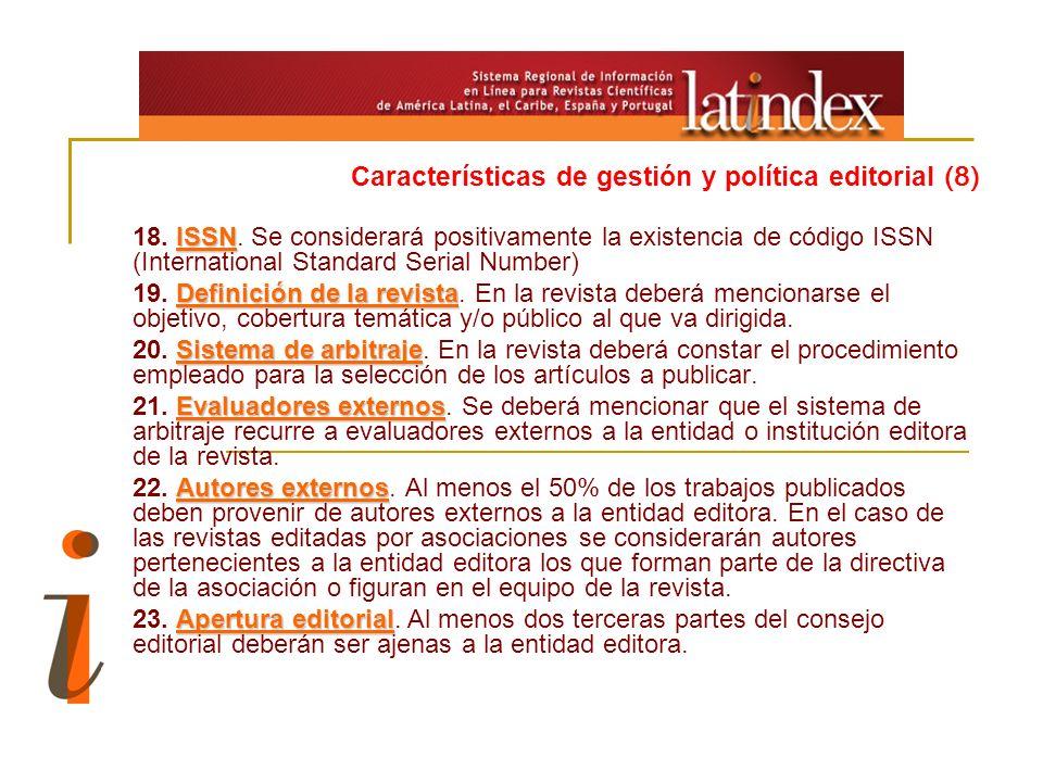 Características de gestión y política editorial (8)