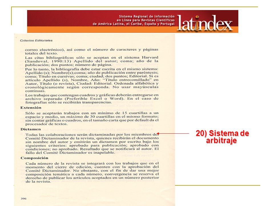 20) Sistema de arbitraje