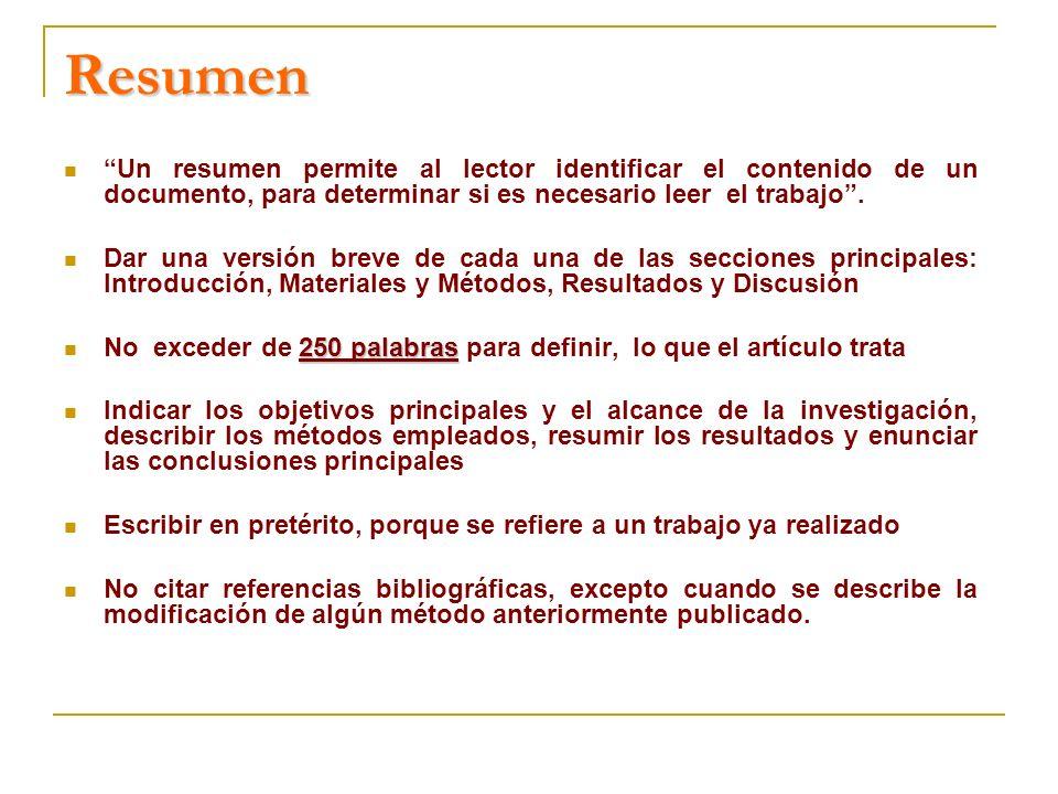 Resumen Un resumen permite al lector identificar el contenido de un documento, para determinar si es necesario leer el trabajo .