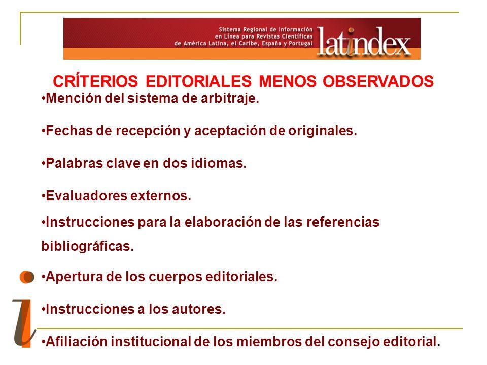 CRÍTERIOS EDITORIALES MENOS OBSERVADOS