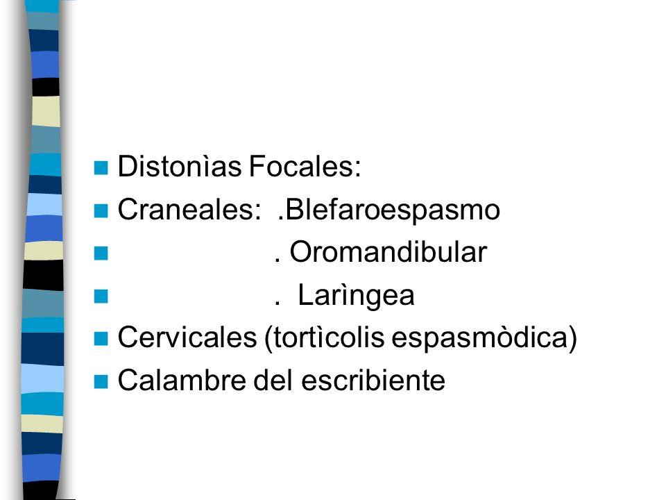 Distonìas Focales: Craneales: .Blefaroespasmo. . Oromandibular. . Larìngea. Cervicales (tortìcolis espasmòdica)