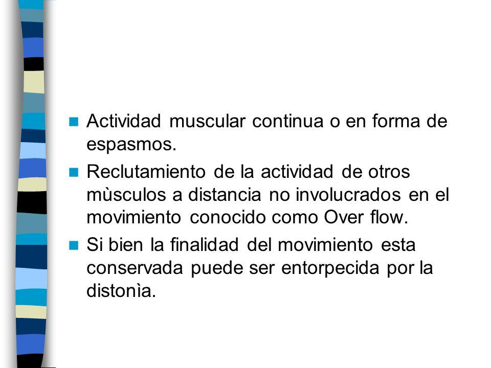 Actividad muscular continua o en forma de espasmos.