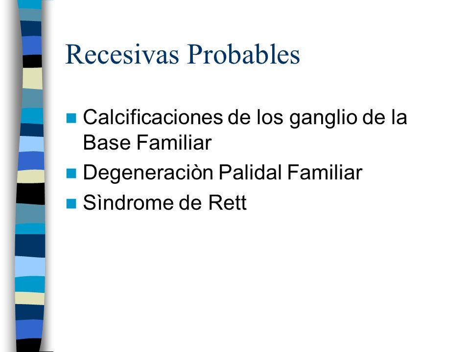 Recesivas Probables Calcificaciones de los ganglio de la Base Familiar