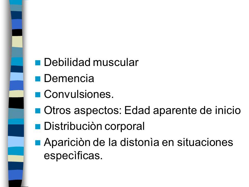 Debilidad muscular Demencia. Convulsiones. Otros aspectos: Edad aparente de inicio. Distribuciòn corporal.