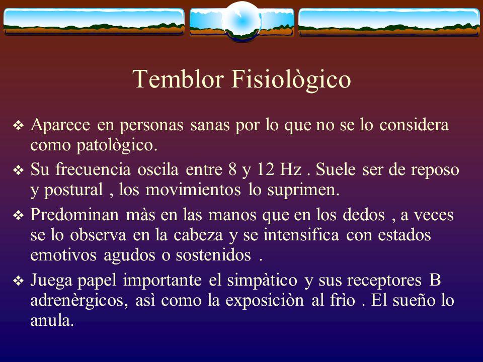 Temblor Fisiològico Aparece en personas sanas por lo que no se lo considera como patològico.