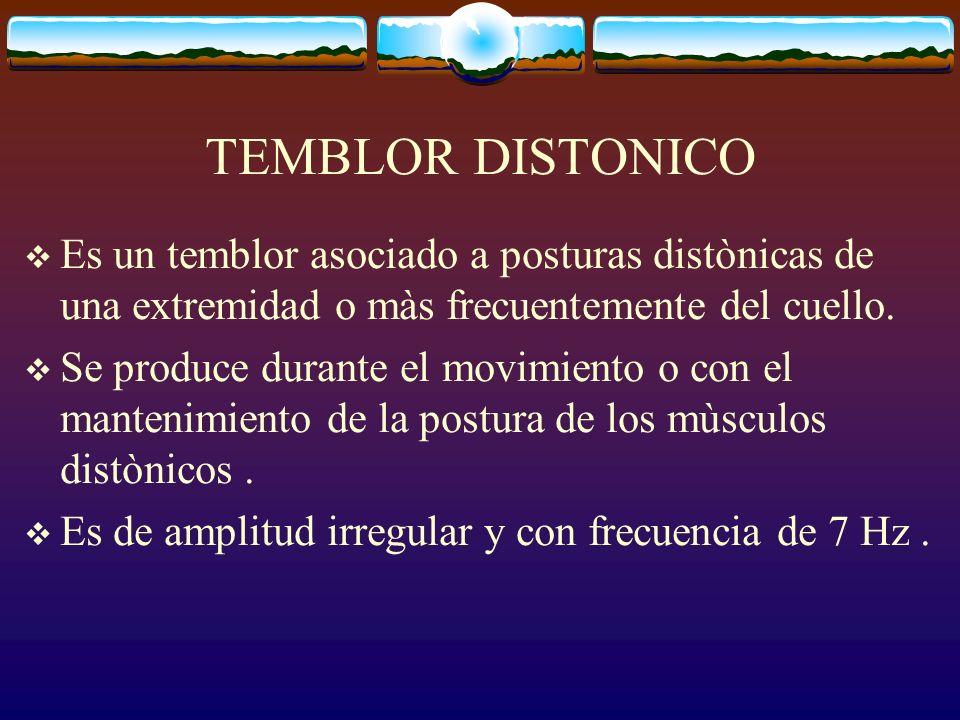 TEMBLOR DISTONICO Es un temblor asociado a posturas distònicas de una extremidad o màs frecuentemente del cuello.