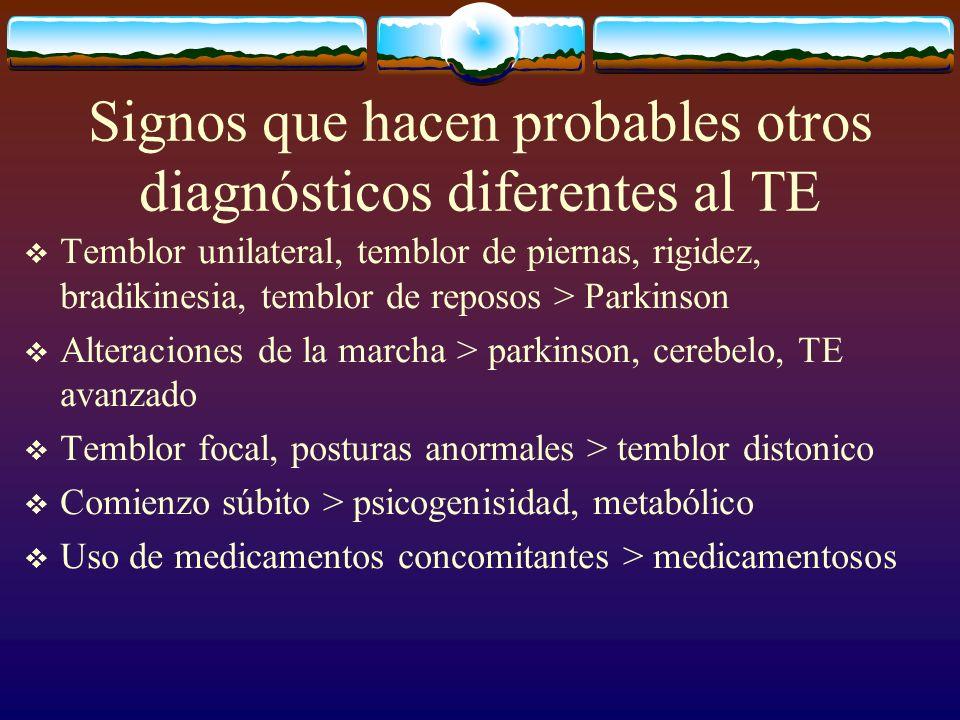Signos que hacen probables otros diagnósticos diferentes al TE