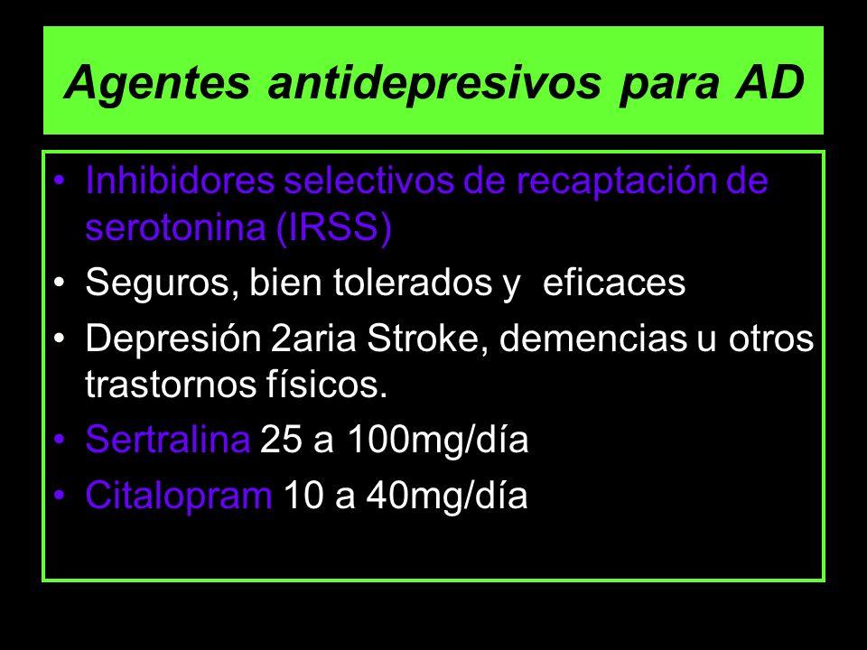 Agentes antidepresivos para AD