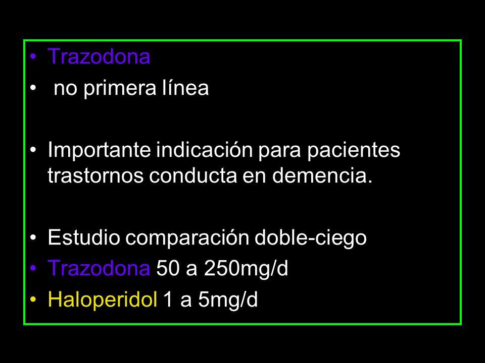 Trazodona no primera línea. Importante indicación para pacientes trastornos conducta en demencia. Estudio comparación doble-ciego.