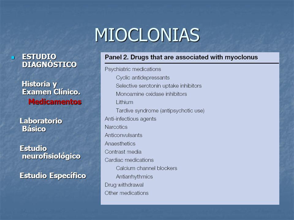MIOCLONIAS ESTUDIO DIAGNÓSTICO Historia y Examen Clínico. Medicamentos