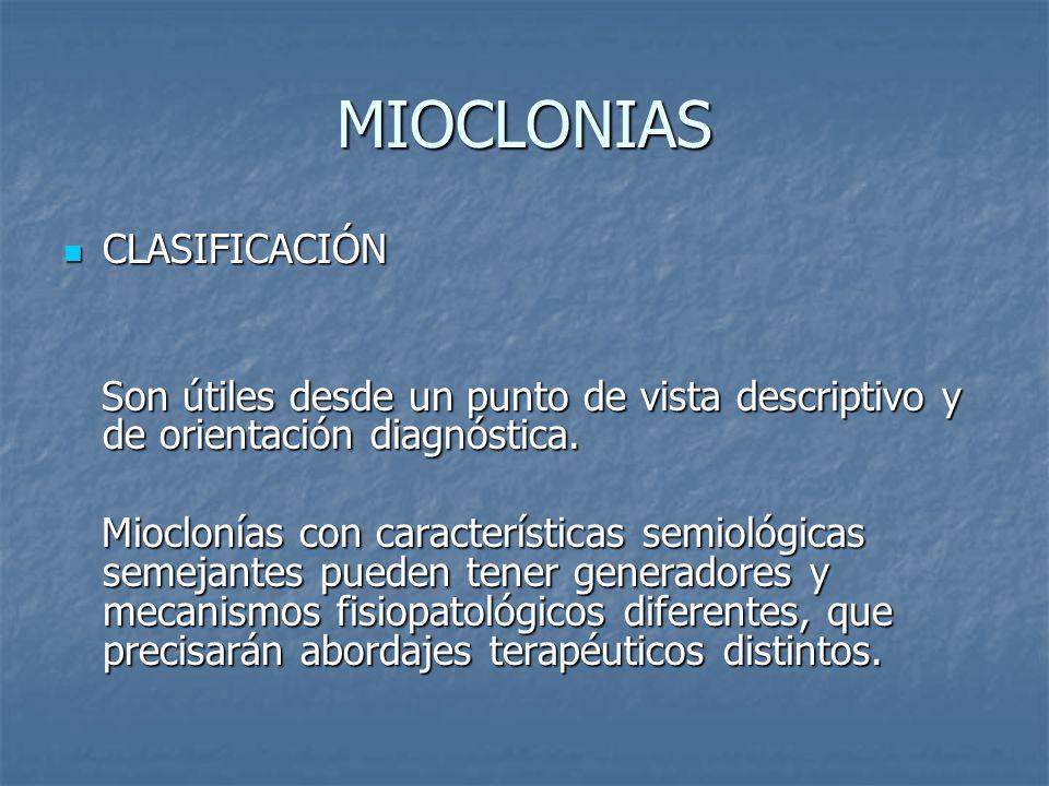 MIOCLONIAS CLASIFICACIÓN