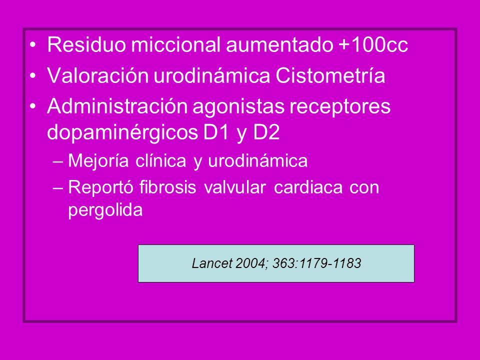 Residuo miccional aumentado +100cc Valoración urodinámica Cistometría