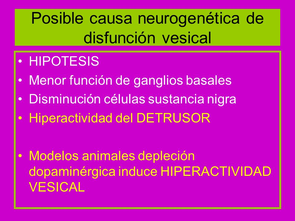 Posible causa neurogenética de disfunción vesical