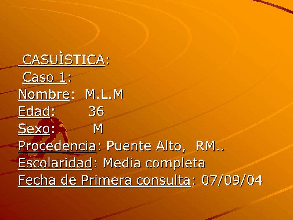 CASUÌSTICA:Caso 1: Nombre: M.L.M. Edad: 36. Sexo: M. Procedencia: Puente Alto, RM.. Escolaridad: Media completa.
