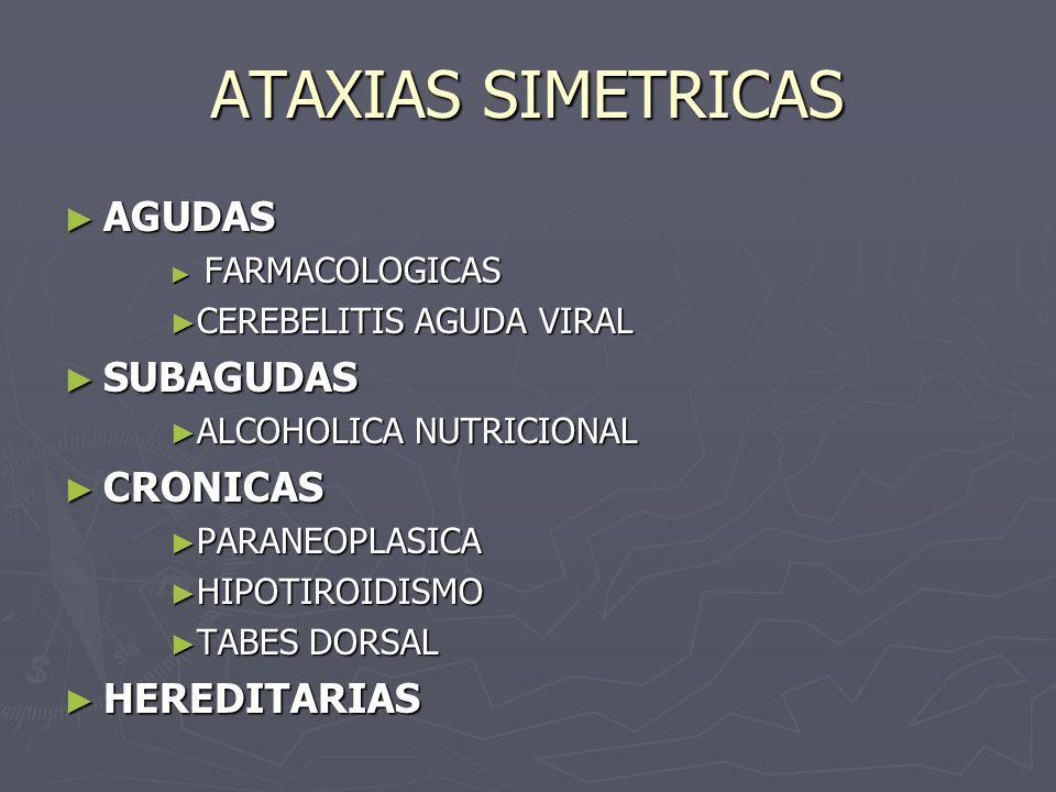 ATAXIAS SIMETRICAS AGUDAS SUBAGUDAS CRONICAS HEREDITARIAS