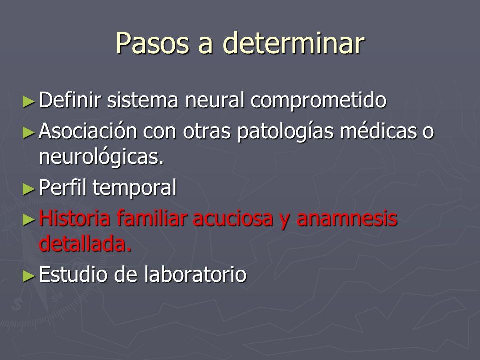 Pasos a determinar Definir sistema neural comprometido