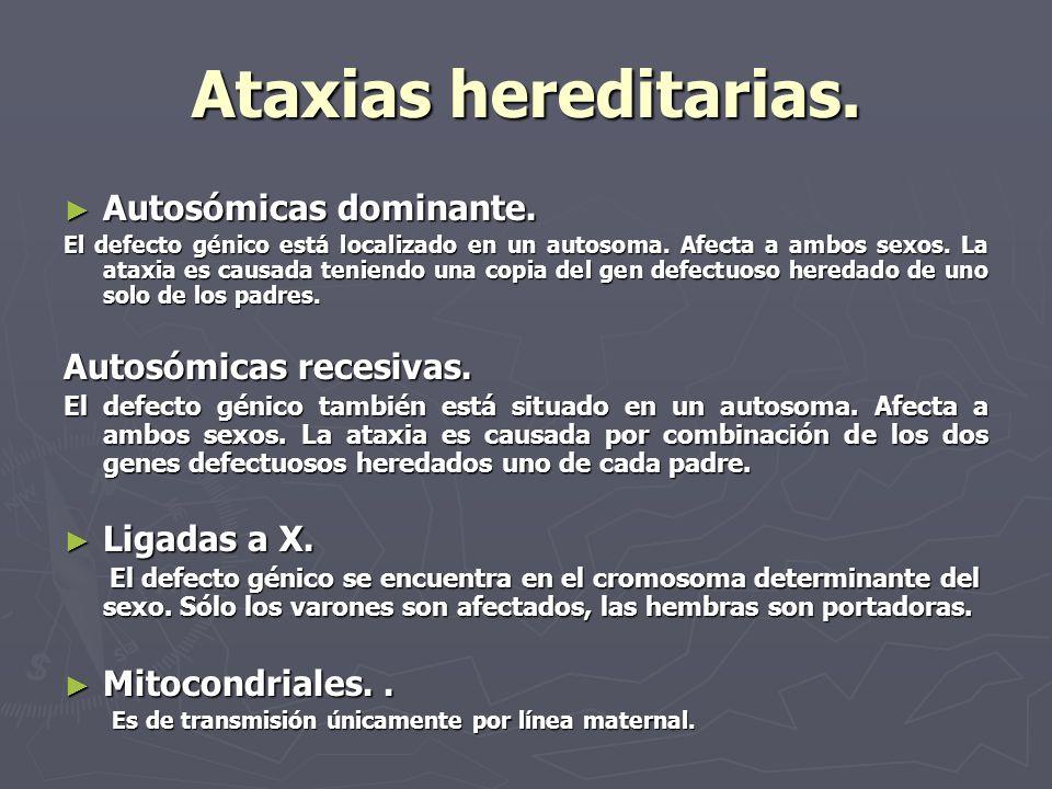 Ataxias hereditarias. Autosómicas dominante. Autosómicas recesivas.