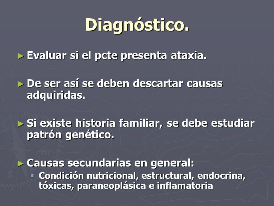 Diagnóstico. Evaluar si el pcte presenta ataxia.