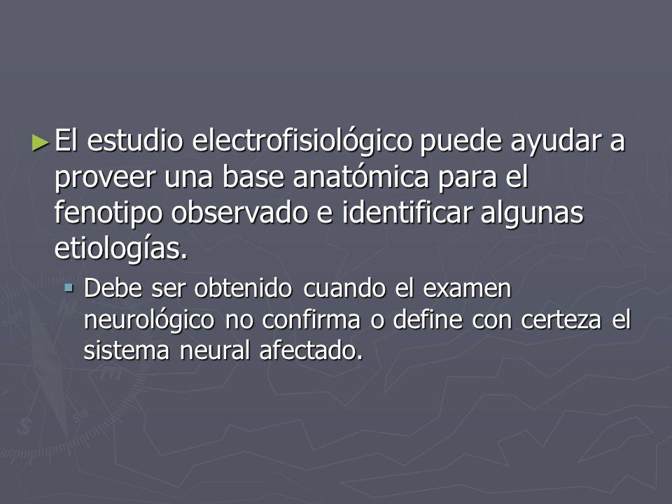 El estudio electrofisiológico puede ayudar a proveer una base anatómica para el fenotipo observado e identificar algunas etiologías.