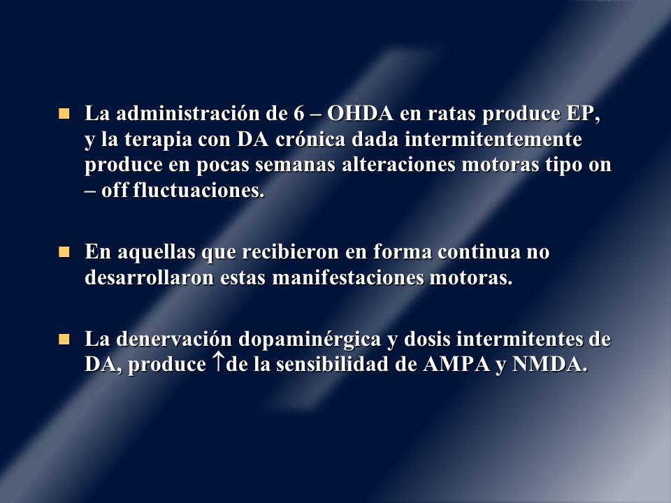 La administración de 6 – OHDA en ratas produce EP, y la terapia con DA crónica dada intermitentemente produce en pocas semanas alteraciones motoras tipo on – off fluctuaciones.