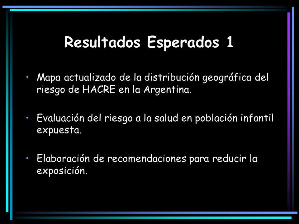 Resultados Esperados 1 Mapa actualizado de la distribución geográfica del riesgo de HACRE en la Argentina.