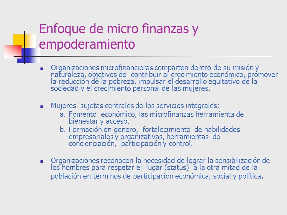 Enfoque de micro finanzas y empoderamiento