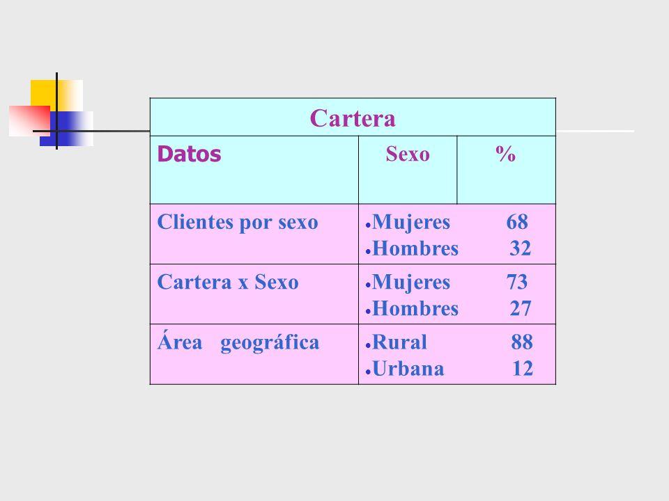 Cartera Datos Sexo % Clientes por sexo Mujeres 68 Hombres 32