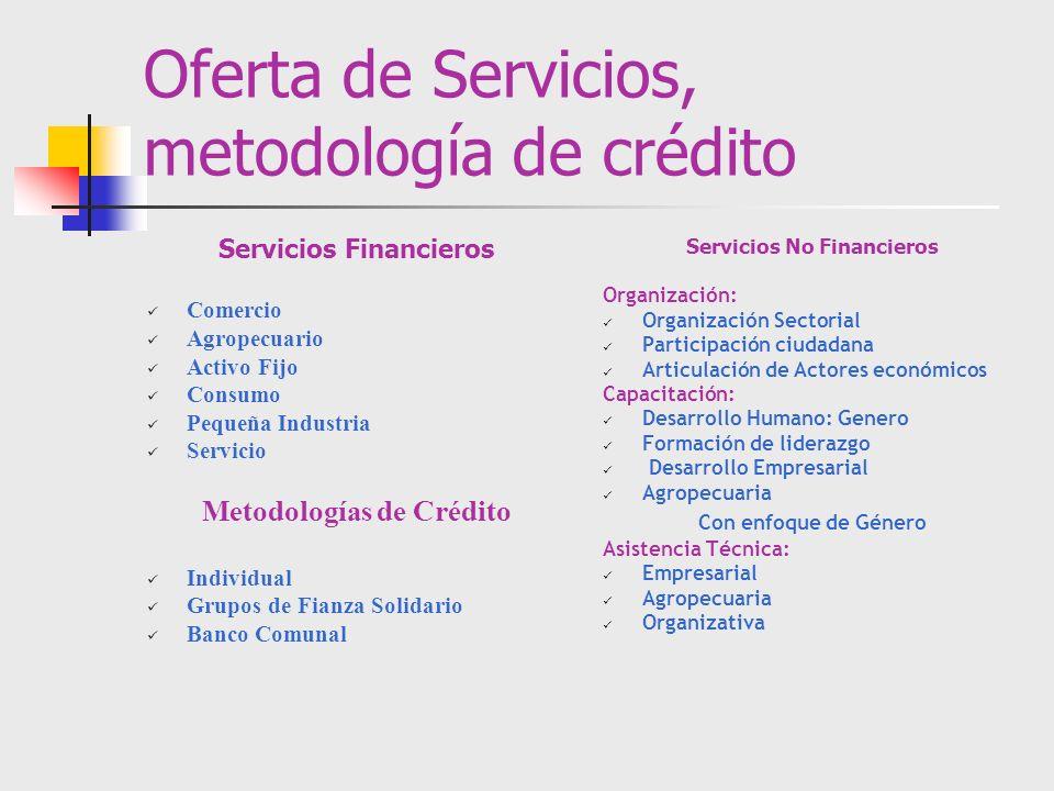 Oferta de Servicios, metodología de crédito