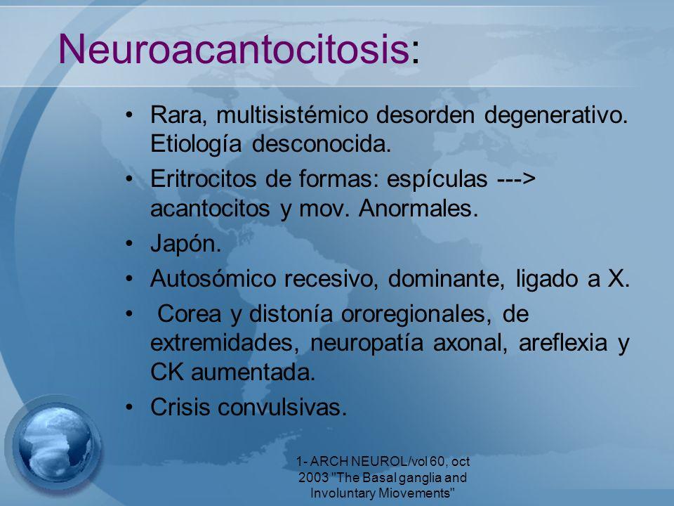 Neuroacantocitosis: Rara, multisistémico desorden degenerativo. Etiología desconocida.