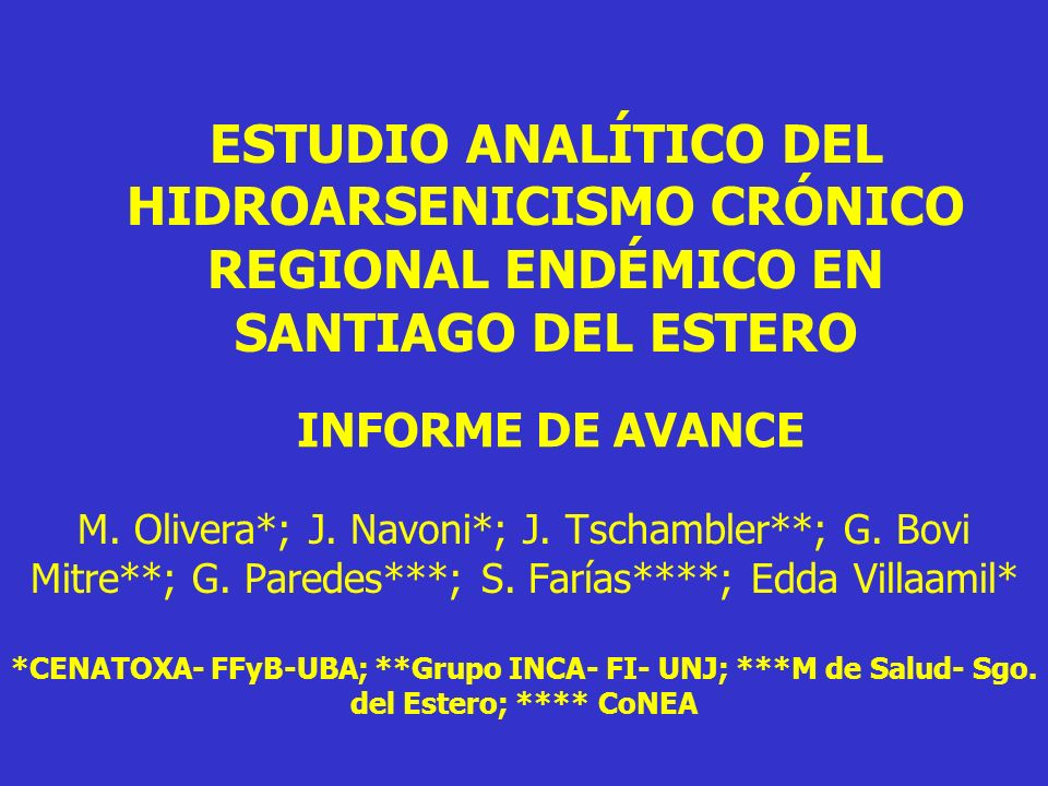 ESTUDIO ANALÍTICO DEL HIDROARSENICISMO CRÓNICO REGIONAL ENDÉMICO EN SANTIAGO DEL ESTERO