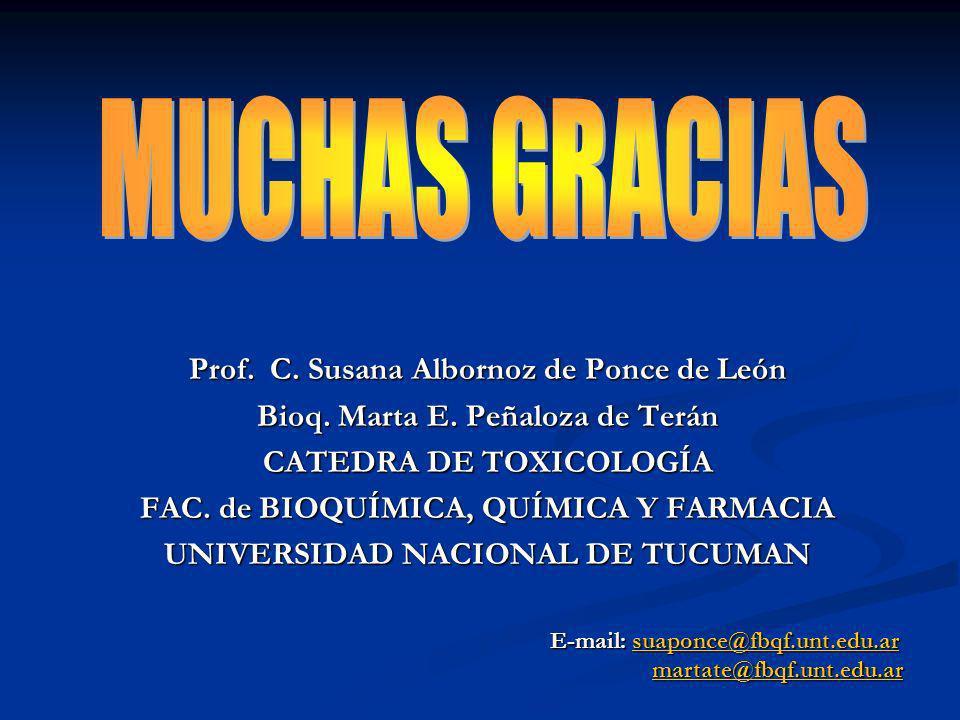 MUCHAS GRACIAS Prof. C. Susana Albornoz de Ponce de León