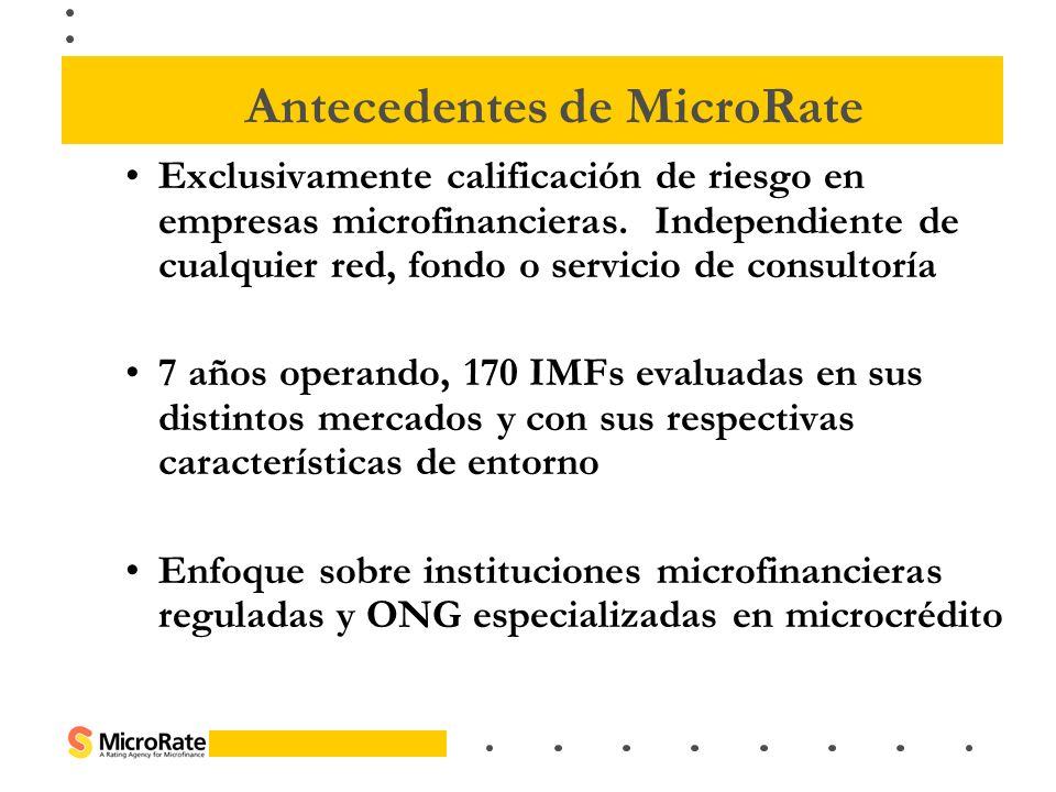 Antecedentes de MicroRate