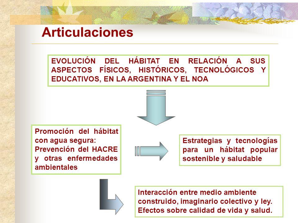 Articulaciones EVOLUCIÓN DEL HÁBITAT EN RELACIÓN A SUS ASPECTOS FÍSICOS, HISTÓRICOS, TECNOLÓGICOS Y EDUCATIVOS, EN LA ARGENTINA Y EL NOA.