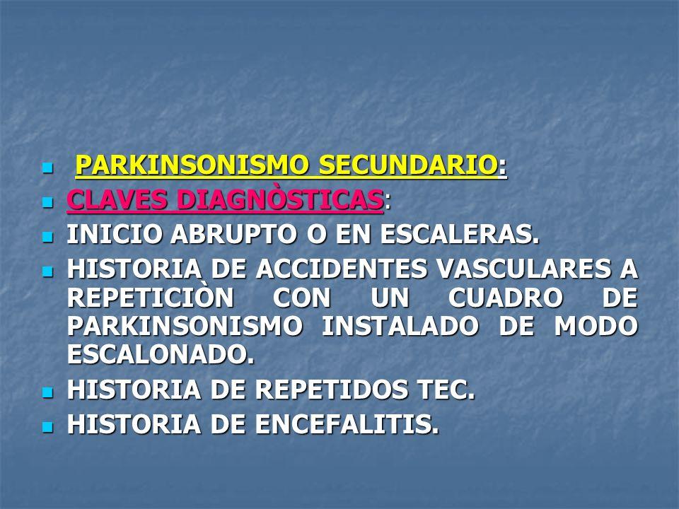 PARKINSONISMO SECUNDARIO: