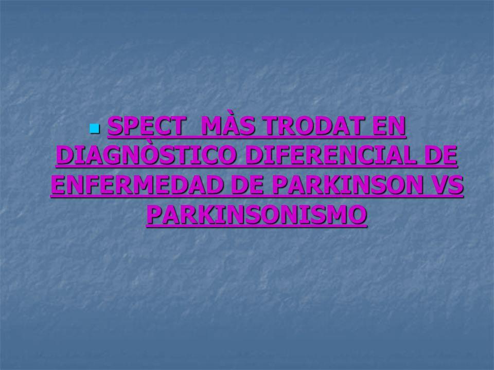 SPECT MÀS TRODAT EN DIAGNÒSTICO DIFERENCIAL DE ENFERMEDAD DE PARKINSON VS PARKINSONISMO