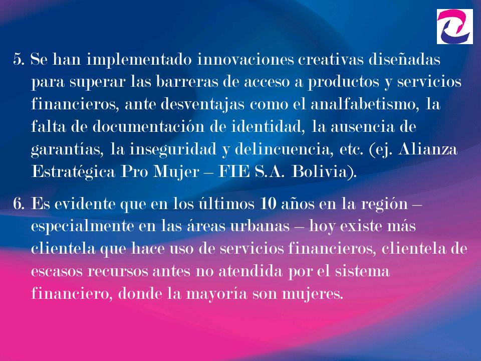 5. Se han implementado innovaciones creativas diseñadas para superar las barreras de acceso a productos y servicios financieros, ante desventajas como el analfabetismo, la falta de documentación de identidad, la ausencia de garantías, la inseguridad y delincuencia, etc. (ej. Alianza Estratégica Pro Mujer – FIE S.A. Bolivia).