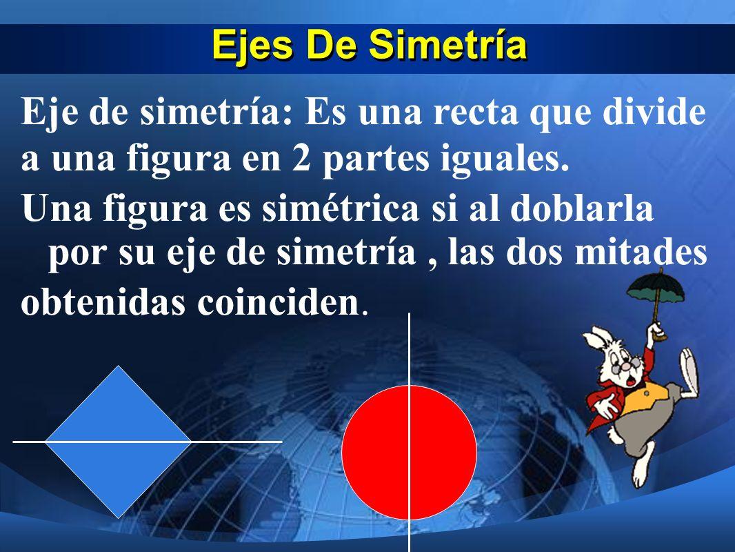 Ejes De Simetría Eje de simetría: Es una recta que divide a una figura en 2 partes iguales.