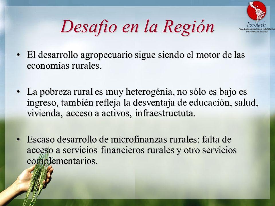Desafio en la Región El desarrollo agropecuario sigue siendo el motor de las economías rurales.