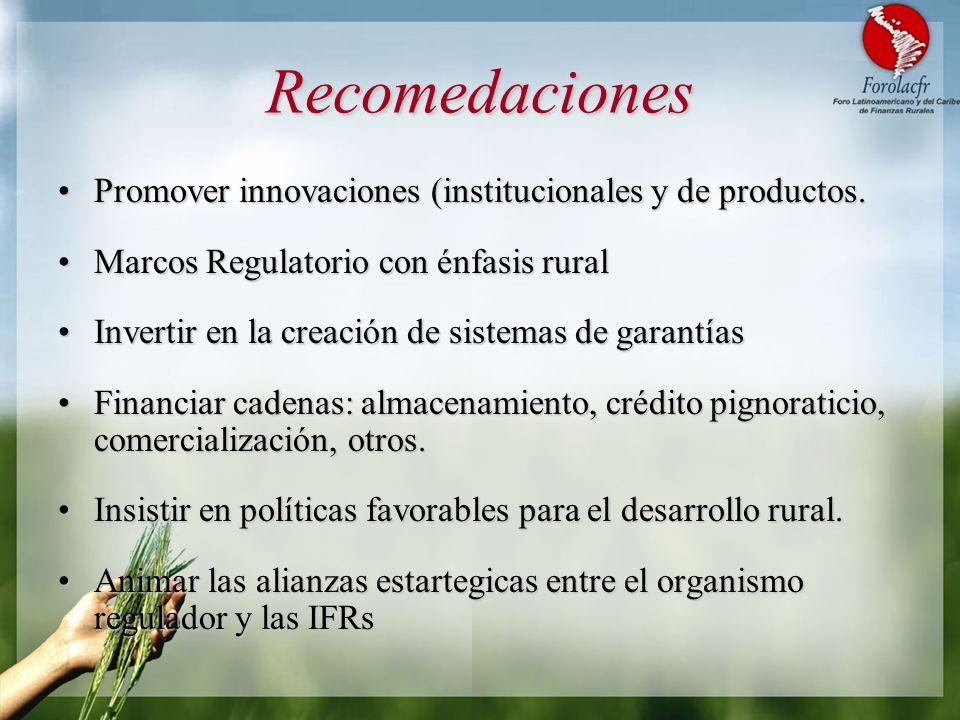 Recomedaciones Promover innovaciones (institucionales y de productos.