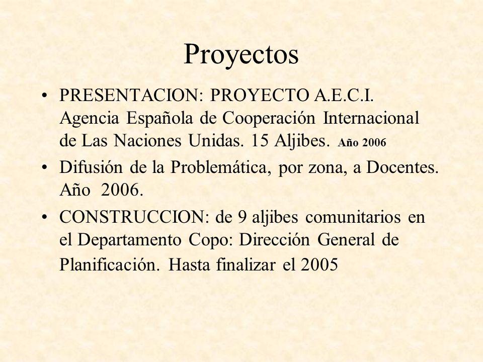 ProyectosPRESENTACION: PROYECTO A.E.C.I. Agencia Española de Cooperación Internacional de Las Naciones Unidas. 15 Aljibes. Año 2006.