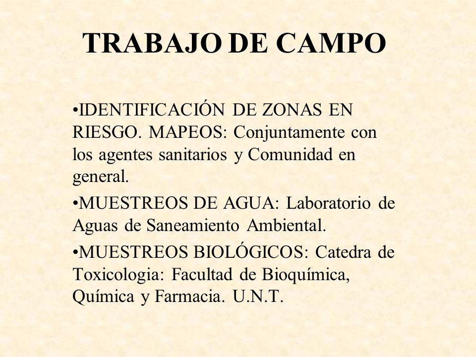 TRABAJO DE CAMPOIDENTIFICACIÓN DE ZONAS EN RIESGO. MAPEOS: Conjuntamente con los agentes sanitarios y Comunidad en general.