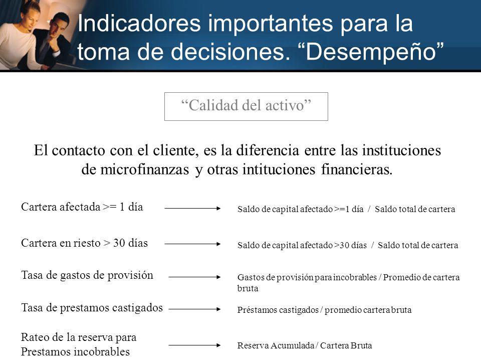 Indicadores importantes para la toma de decisiones. Desempeño