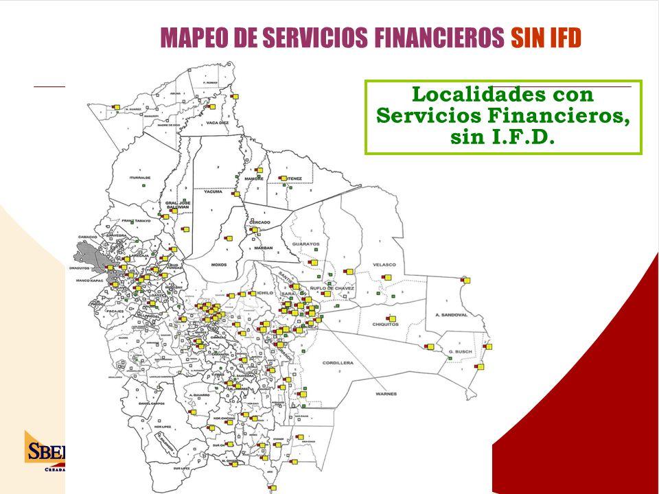 Localidades con Servicios Financieros, sin I.F.D.